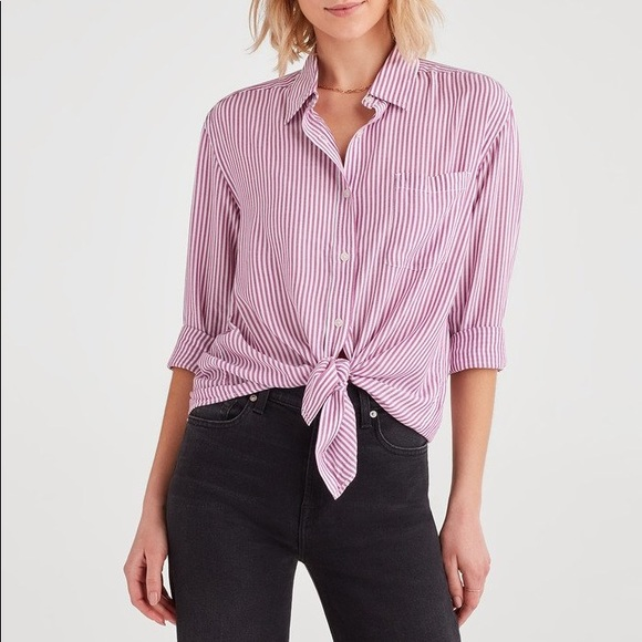 f0c86df679556 NWT MAEVE Anthropologie Tie Front Striped Blouse